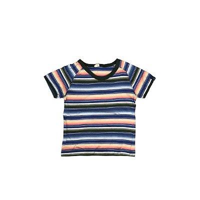 Camiseta GREEN Infantil Listras Gola Verde