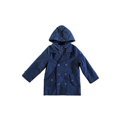Casaco Chicco de Lã com Capuz Azul Marinho