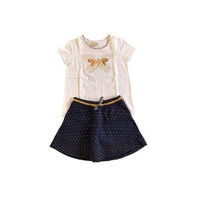 Conjunto Milon Blusa com Apliques e Saia Poá Dourada e Azul