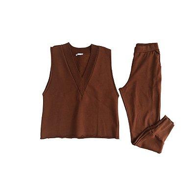 Conjunto Zara Marrom de Moletom (Calça com Bolinhas e sinal de uso)