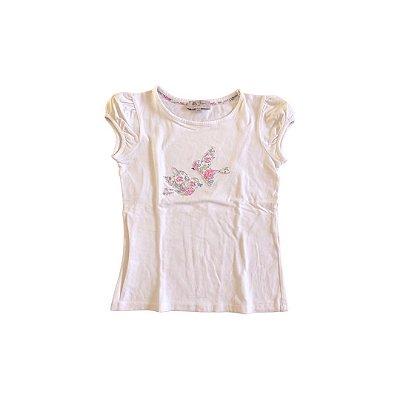 Camiseta LILY ROSE Infantil Branca 2 Passarinhos