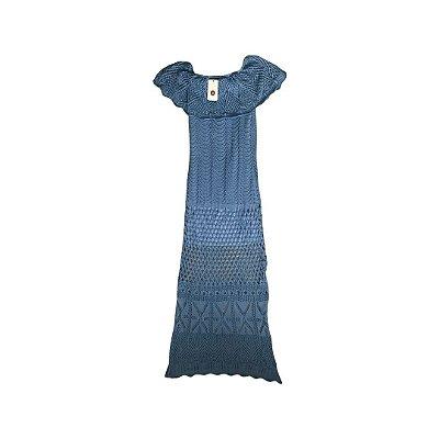 Vestido Tricô SANDRA REZENDE Feminino Azul (com Etiqueta)