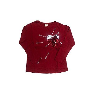 Camiseta Manga Longa ZARA  Infantil Vermelha Coração