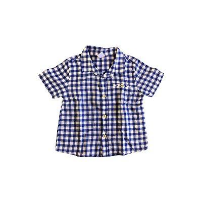 Camisa Zara Baby Xadrez Azul e Branca