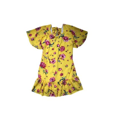 Vestido Feminino Amarelo com Flores Pink