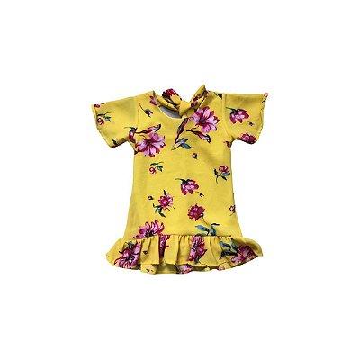Vestido Infantil Amarelo Flores Pink