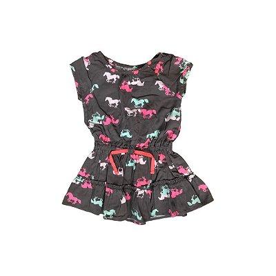 Vestido CARTER´S Infantil Cinza Cavalos