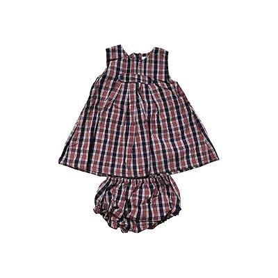 Vestido MINI VIDA Infantil Xadrez Marinho e Tijolo