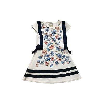 Vestido MILON Infantil Branco Flores Azul