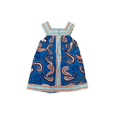 Vestido GREEN Infantil Azul Arabescos