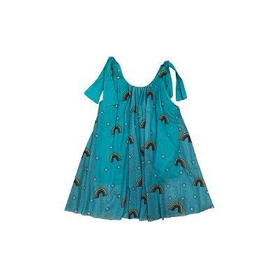 Vestido Tule FÁBULA Infantil Verde Arco Íris