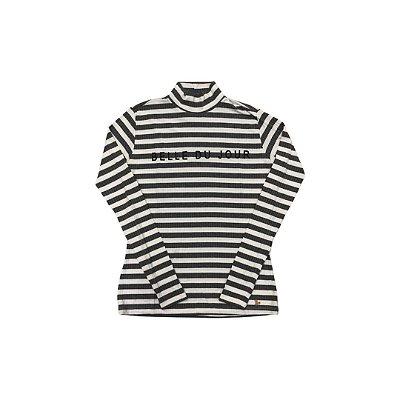 Camiseta Gola Alta J.CHERMANN Feminina Listras Branca e Cinza