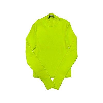 Camiseta Gola Alta ZARA Feminina Amarela Fluor