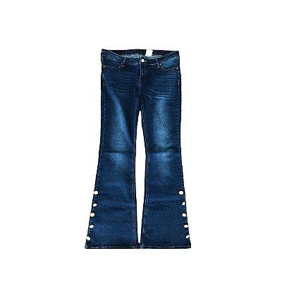 Calça Jeans ANNICK Feminina Azul com Botões na Barra