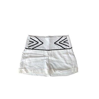Shorts ANIMALE Feminino Branco com detalhes Preto no Cós