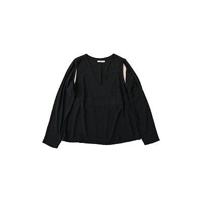 Camisa FOR YETTS Feminina Preta - Detalhe no Ombro