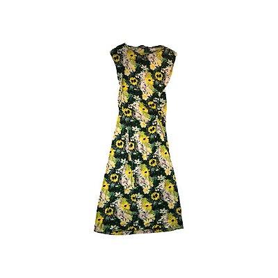 Vestido ZARA Feminino Preto Estampado Flores Amarelas