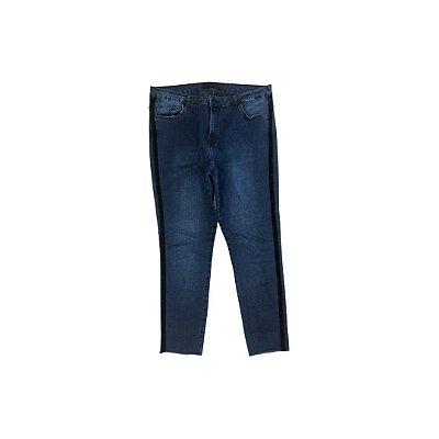 Calça Jeans SHOULDER Feminina Azul com Faixa Lateral Veludo