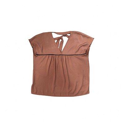 Blusa SHOULDER Feminina Caramelo com detalhe em Preto