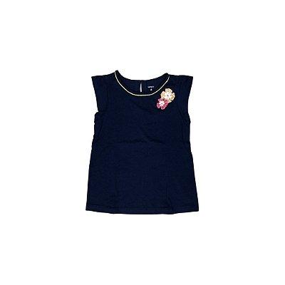 Camiseta CARTER´S Infantil Marinho Aplique Flor