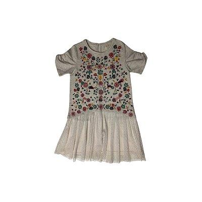 Vestido ZARA Infantil Flores e Saia em Tule