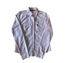 Camisa Listrada Branca e Rosa Abercrombie & Fitch