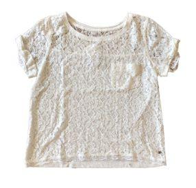 Blusa Branca de Renda com Bolsinho Abercrombie & Fitch