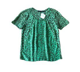 Blusa Animale Feminina Verde em  Seda Animal Print