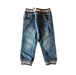 Calça Jeans com Elástico Cintura Azul e Cinza Little Rebel