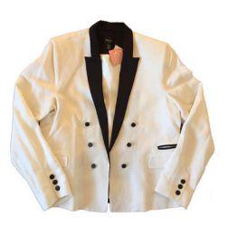 Blaser Branco com Detalhes Pretos Mango Suit