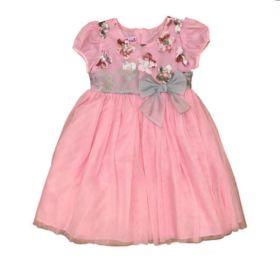Vestido de Tule Rosa Bebê e Cinza com Bordado Ashley Ann