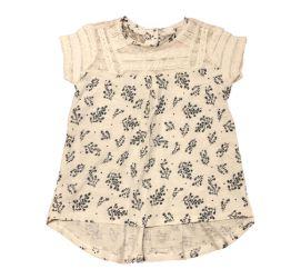 Blusa Branca com Flores Azuis e Renda Baby Club