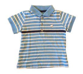 Polo Azul e Branca Listrada Baby Cottons