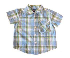 Camisa Manga Curta Xadrez Azul e Verde Baby Head Quarters