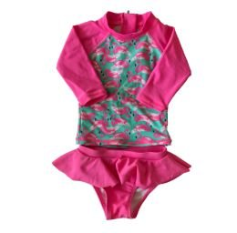 Blusa e Calcinha Praia Rosa Flamingos Baby Way