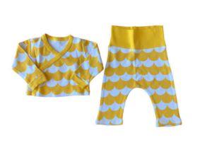 Conjunto Calça e Blusa M. Longa Branco e Amarelo BB Básico