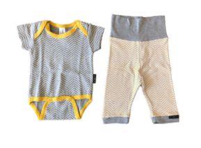 Conjunto Calça e Body Cinza e Amarelo BB Básico