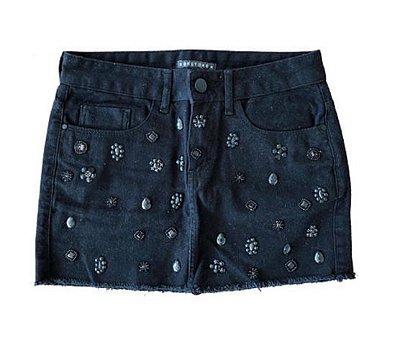 Saia Jeans Preta com Apliques Bobstore