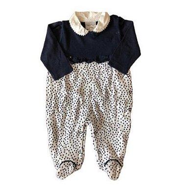 Macacão com pé Azul e Branco Poá Baby Noruega