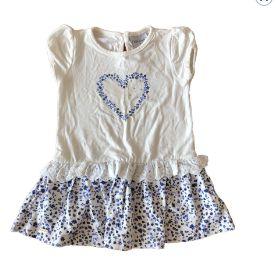 Vestido Branco e Azul Flores Noruega Baby
