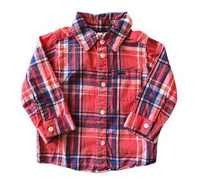 Camisa Carter's Infantil Xadrez Vermelha Manga Longa