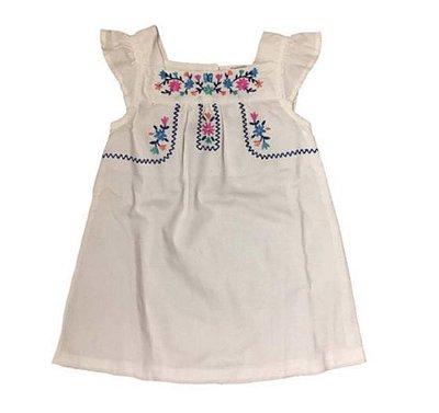 Vestido Carter's Infantil Branco de Linho