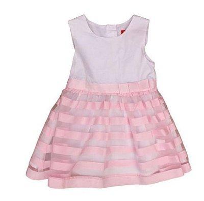 Vestido Branco com Saia de Listras Rosa Casa de Boneca