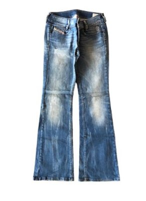 Calça Jeans Clara com Manchas na Perna Diesel