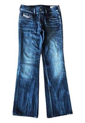 Calça Jeans Escura com Brilho em bolsos Diesel
