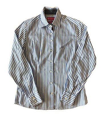 Camisa Listrada Azul e Branca Dudalina
