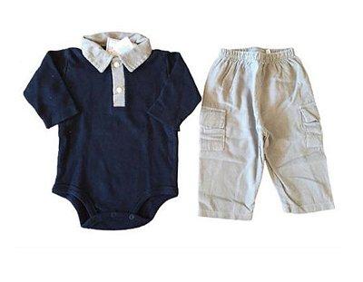 Conjunto Body  Manga Longa e Calça veludo Cinza e Azul Marinho Emporio Baby