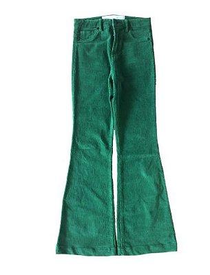 Calça Flare de Veludo Verde Eva