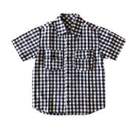Camisa Xadrez Manga Curta Linho Azul e Branca P.I. Kids