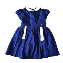 Vestido Azul Marinho Poá com Pérolas Primo Bambino